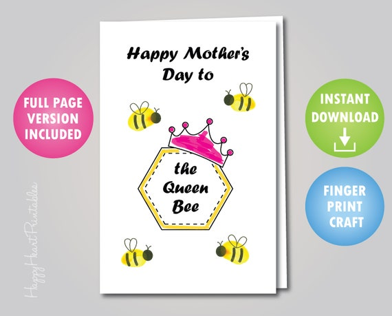 Mother's Day Queen Bee Fingerprint Card
