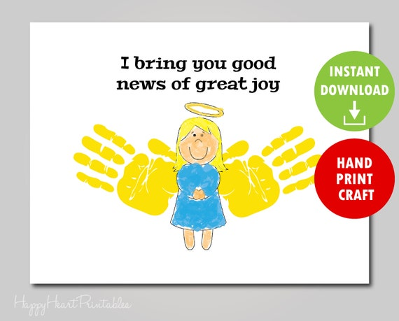 photograph about Handprint Printable referred to as Handprint Angel Craft Printable Template - Xmas Handprint Artwork