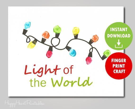 Thumbprint Christmas Lights Printable Template Thumbprint Etsy