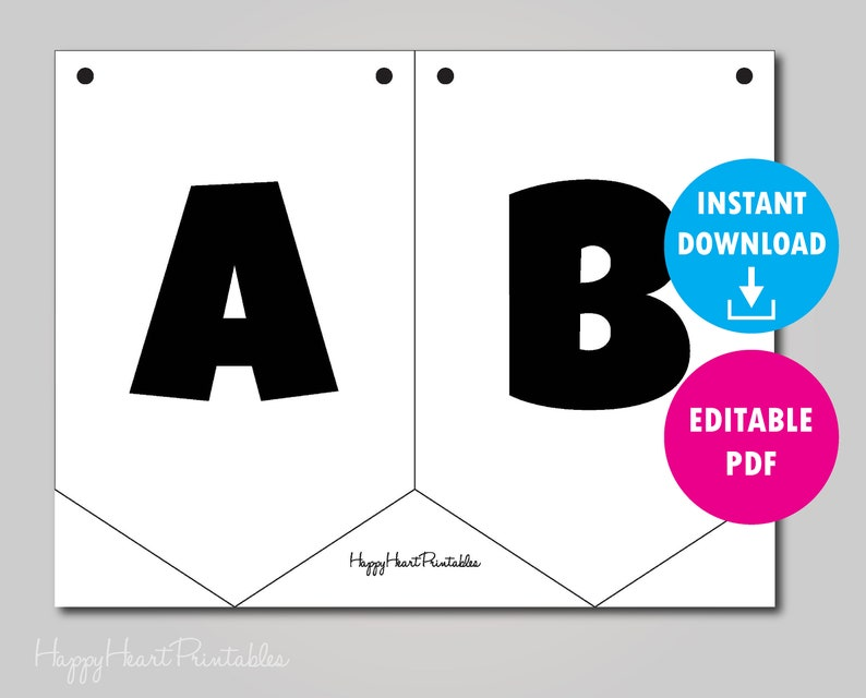 photo relating to Printable Pennant Banner referred to as Editable Pennant Banner Template - Printable Banner Template