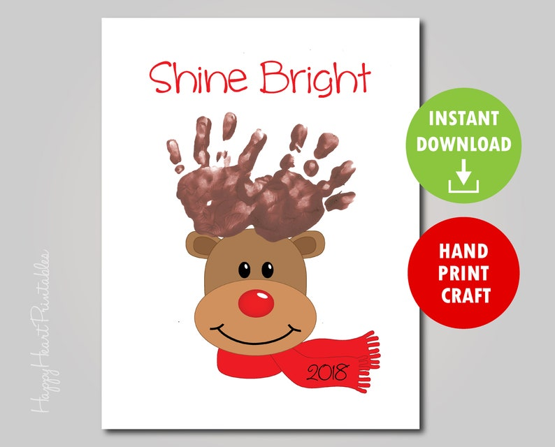 photo relating to Printable Handprint named Handprint Reindeer Artwork Printable Template- Handprint Xmas Craft - Hand print Reindeer Antlers - Glow Shiny