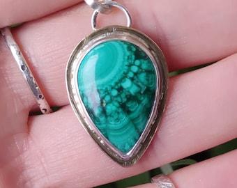 Malachite Silver Pendant, Natural Malachite Necklace, Malachite Brass Pendant, Women's Jewellery, Authentic and Unique Gift Idea for Her