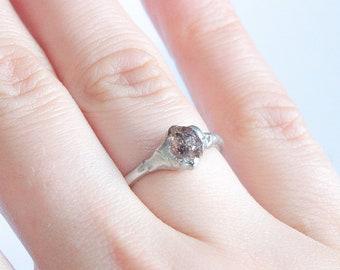 Diamond Quartz ring size 5 1/4 US, Tibetan quartz silver tin ring, Herkimer diamond solitaire ring mothers day gift ring gift for girlfriend
