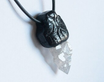 Quartz pendant for men, Elestial Quartz Pendant, Skeletal Elestial Quartz Necklace, polymer Quartz necklace Men pendant gift for boyfriend