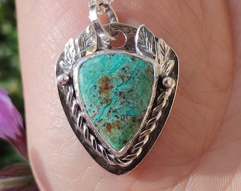 Chrysocolla Necklace, Sterling Silver Pendant, Nature jewelry, rustic jewelry, Leafs Necklace Gift for Her, Green witch Crystal