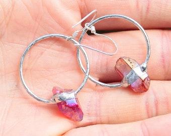 Fuchsia Aura Quartz Earrings Set, Silver Aura Quartz  red Titanium Quartz, Boho Crystal Jwelry, red Crystal Quartz Jewelry Set gift for wife