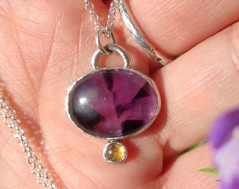 Star Amethyst and Citrine Necklace, Sterling Silver Necklace, Trapiche Amethyst Pendant, Handmade Sterling Silver Jewellery, Gift for Her