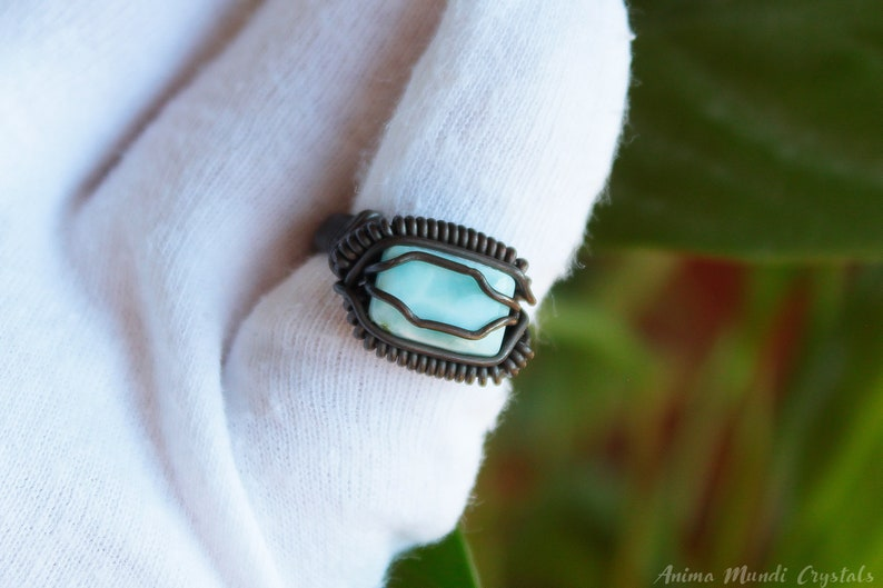 Larimar ring size 7us braided wire ring Wire wrapped larimar ring Copper wire ring Heady ring blue stone ring Raw crystal ring