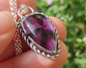 Star Amethyst Necklace, Sterling Silver Necklace, Trapiche Amethyst Pendant, Handmade Sterling Silver Jewellery, Gift for Her, Healing jewel