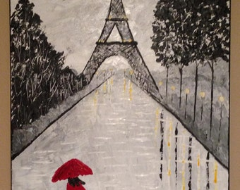 rainy day in Paris, Eiffel tower painting,Paris painting,Umbrella painting,black and white,red umbrella