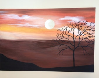 Moon painting,landscape painting,tree painting,earth tone painting,brown painting,orange painting,24x36.canvas art,wall decor