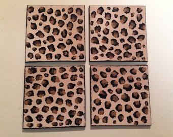 coasters,leopard coasters,painted coasters,leopard print coasters,hand painted coasters