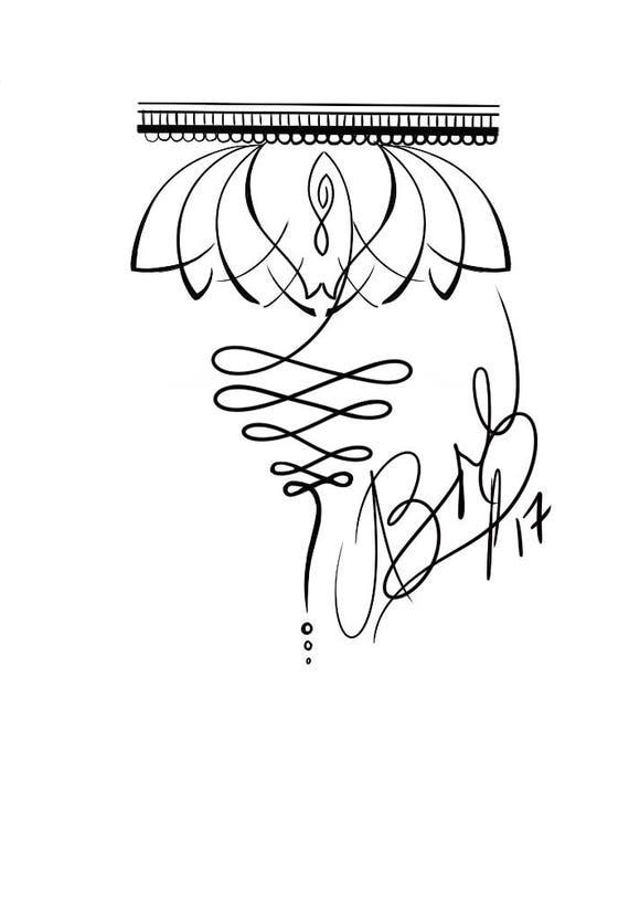 Lotus Y El Tatuaje De Unalome Etsy