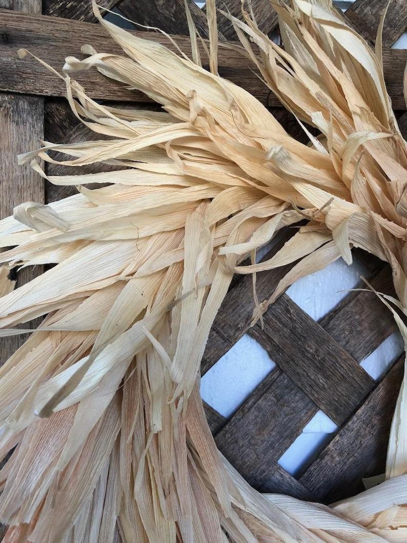Primitive Wreath NOW FREE SHIPPING! Corn Shuck Wreath Lg Sized Natural Rustic Corn Husk Wreath 100/% Natural Wreath