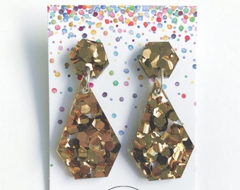 Statement Dangle Earrings Bronze Glitter Gold glitter drop earrings Laser cut acrylic octogon stainless steel