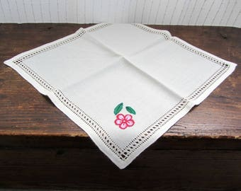 Napkins set / tea towels 9 pieces with printed flowers and trimmed hem