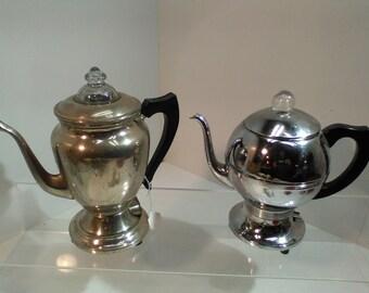 2 vintage electric percolator coffee pots