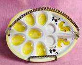 DEVILED EGG PLATE Hand Painted Vintage Ceramic Mid Century Hen Chicks Yellow White Platter Tray Wicker Handle Holiday Buffet Dish