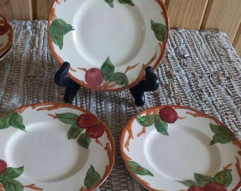 Set of 3 Three 6 Inch Bread or Dessert Plates Franciscan Apple Earthenware California Pottery Very Good Condition Made In USA Stk f6p