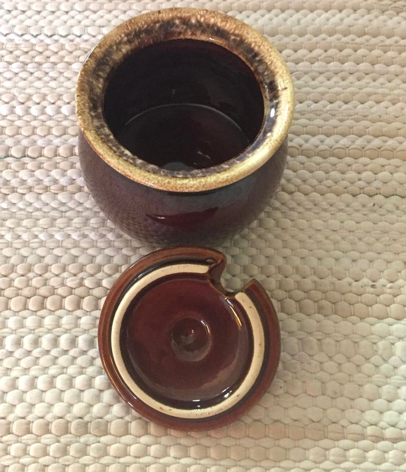 Brown Drip Glaze Hull COVERED SUGAR or CONDIMENTS  Bowl Serving Jam Honey Sweetener Mustard  Oven Proof  Rustic Mid Century 1960/'s 1970/'s