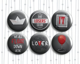 IT Pennywise Clown 6 Pack - Pinback Badges / Magnets