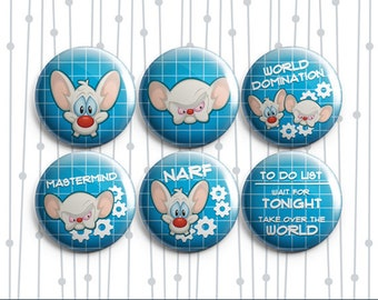 Pinky and the Brain 6 Pack - Pinback Badges / Magnets