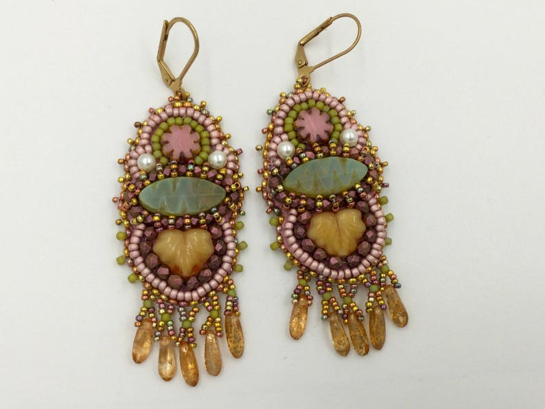 Bead embroidery earrings artisan jewelry handcrafted image 0
