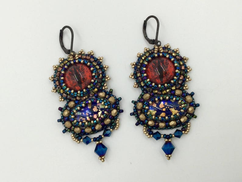 Bead embroidery earrings beaded earrings Artisan Earrings image 0