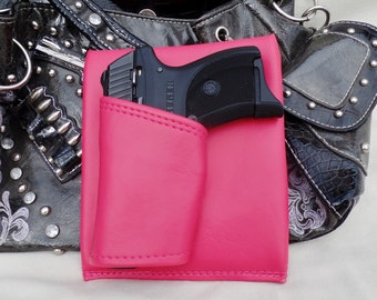 Small Auto Laser, Purse Holster Pink,  Concealed Carry LC9 Solo Nano CCW pistol Sig P938 Bersa Ruger