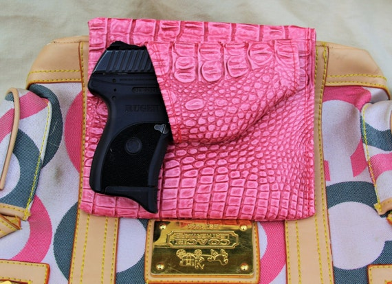 Small Auto Purse Holster, Pink Gator, Concealed Carry LC9 Solo Nano CCW pistol Sig P938 Bersa Sccy