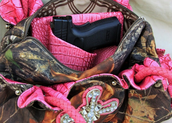 "3"" Large Auto Purse holster Pink Gator Print, S&W CS9, XD sub-c 3"" CCw pistol Px4 Storm Springfield"