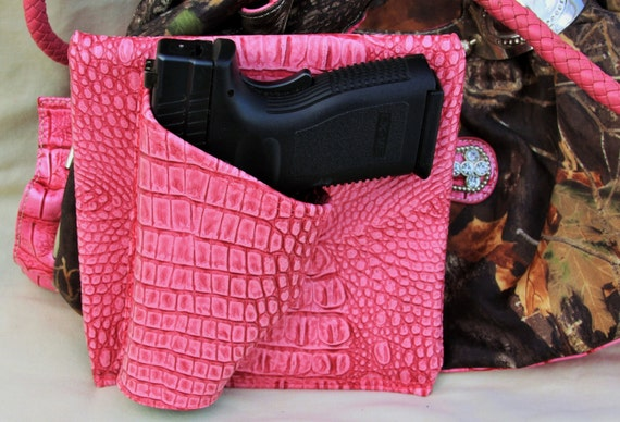"4"" Large Auto, Pink Gator, Concealed carry purse holster,  CCW pistol XD Sig Glock"