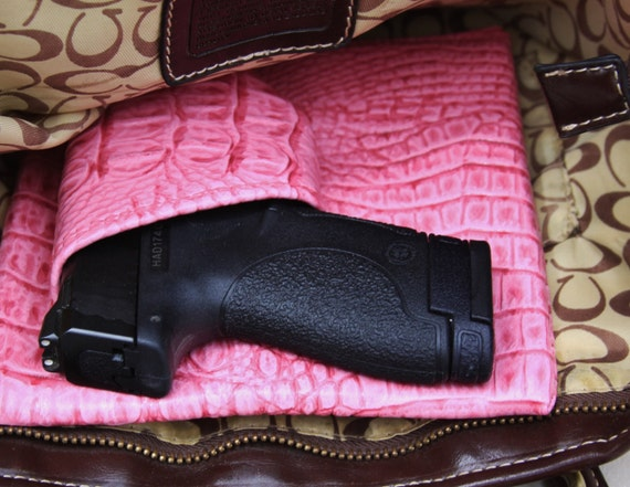 Sub Compact Auto Purse holster Pink Gator Print, S&W MP shield CCW pistol Glock Kimber