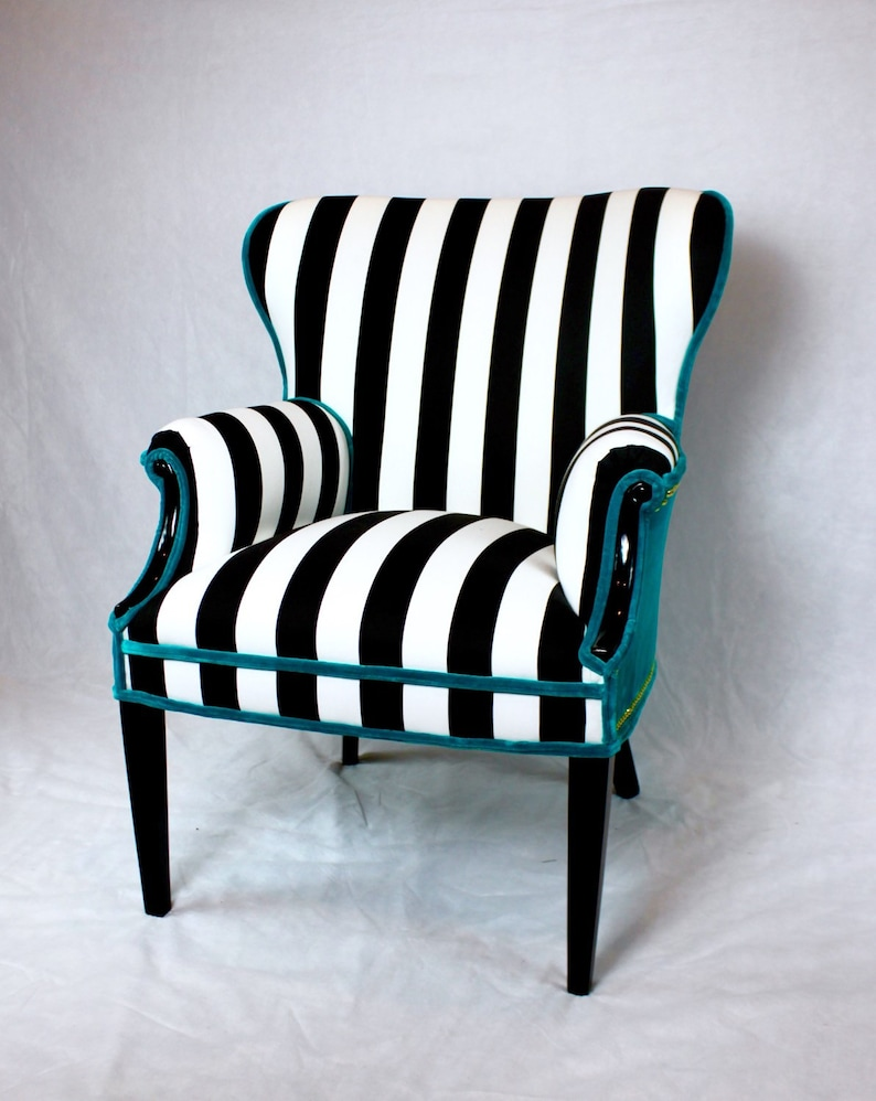Merveilleux Free Shipping  Can Replicate  Sold Black And White Striped Vintage Round  Wing Back Chair With Turquoise Velvet Gold Nailhead Trim
