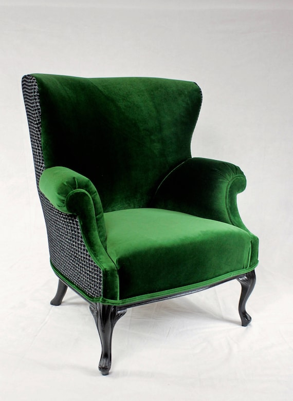 Replicate Sold Vintage Round Wing, Green Velvet Wing Chair