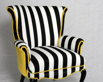 Free shipping- CAN REPLICATE  -sold made in the USA Free shipping Black and White striped Vintage Round Wing Back Chair with Yellow Velvet