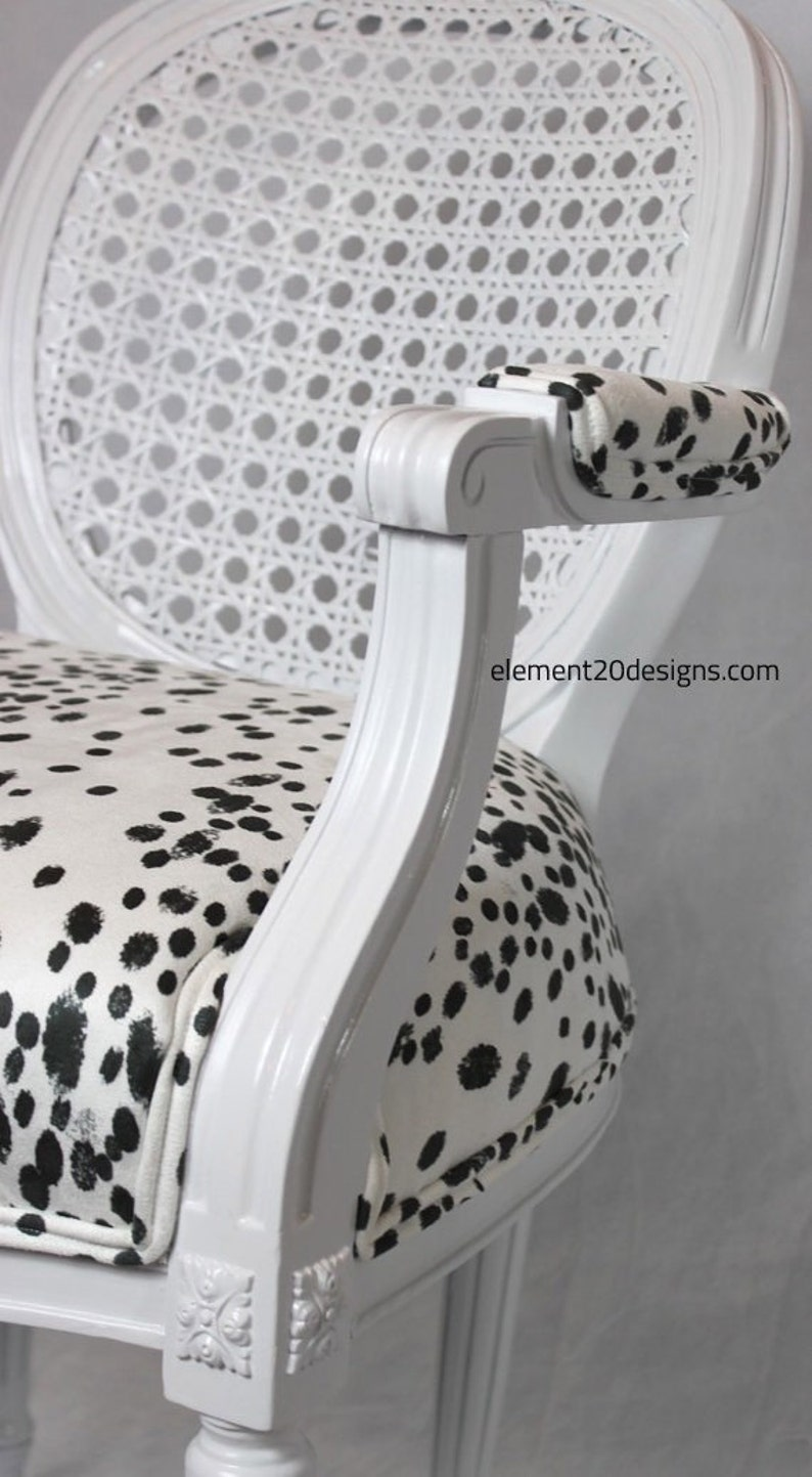 Swell Sold Vintage Cane Dalmatian Chair French Louis Chair Black And White Fabric Animal Print Reupholster Camellatalisay Diy Chair Ideas Camellatalisaycom