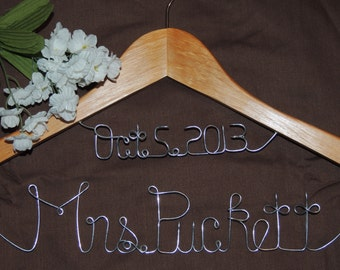 Summer Sale. Personalized Custom Date & Name, Wedding Hanger, Custom Bridal Hanger, Brides Hanger, Bride, Wedding Hanger, Bridal Gifts