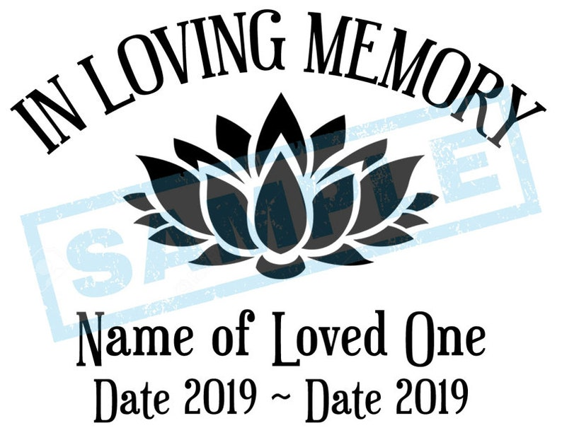 Personalized In Loving Memory Decal  Lotus Flower image 0