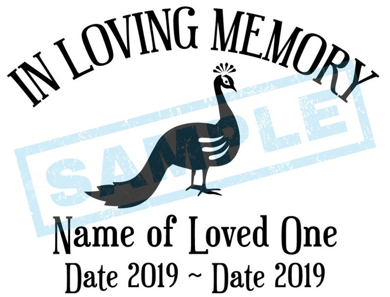 Personalized In Loving Memory Decal  Peacock image 0
