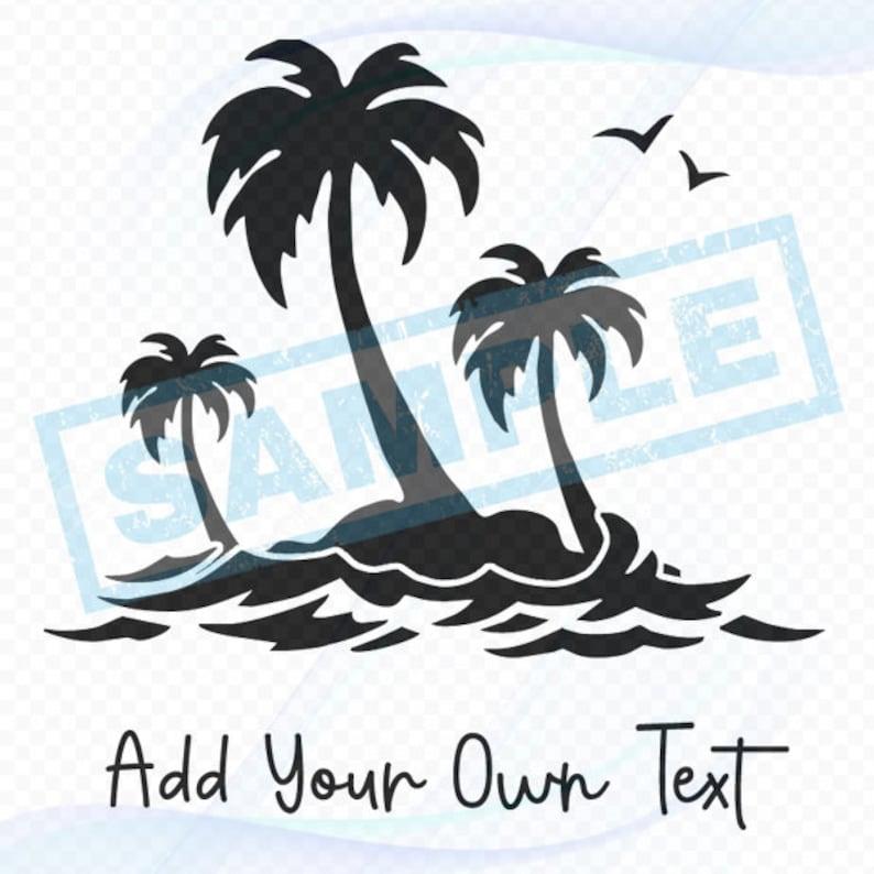 Personalized Nautical Decal  Palm Tree Island image 0
