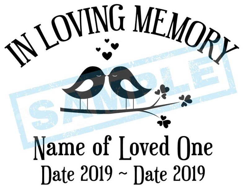 Personalized In Loving Memory Decal  Love Birds image 0