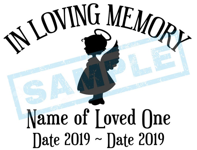 Personalized In Loving Memory Decal  Angel Girl image 0