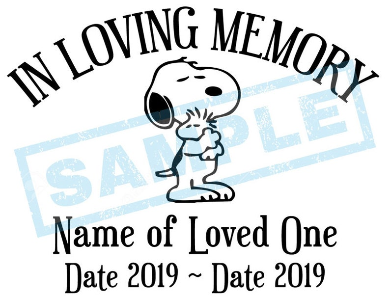 Personalized In Loving Memory Decal  Snoopy Beagle Dog image 0