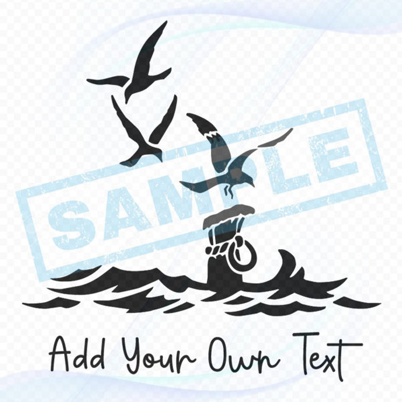 Personalized Nautical Decal  Three Seagulls image 0