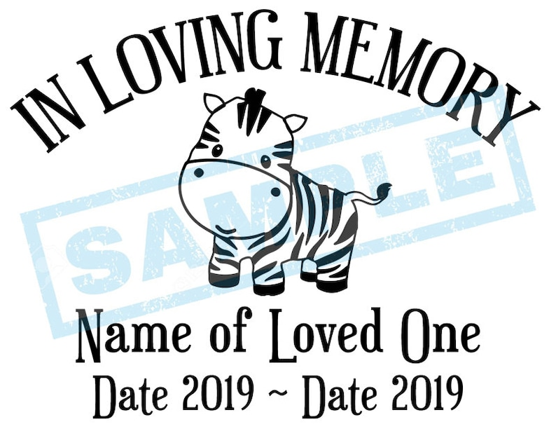 Personalized In Loving Memory Decal  Baby Zebra image 0