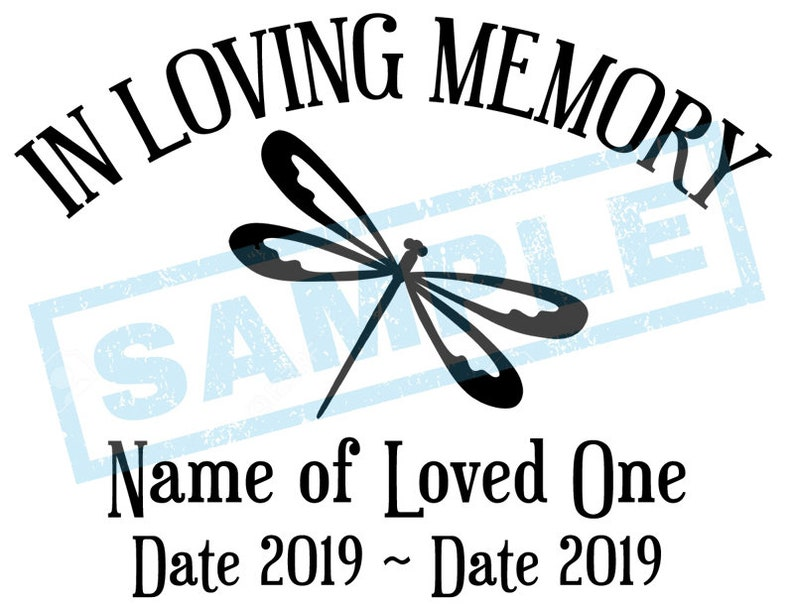 Personalized In Loving Memory Decal  Dragonfly image 0