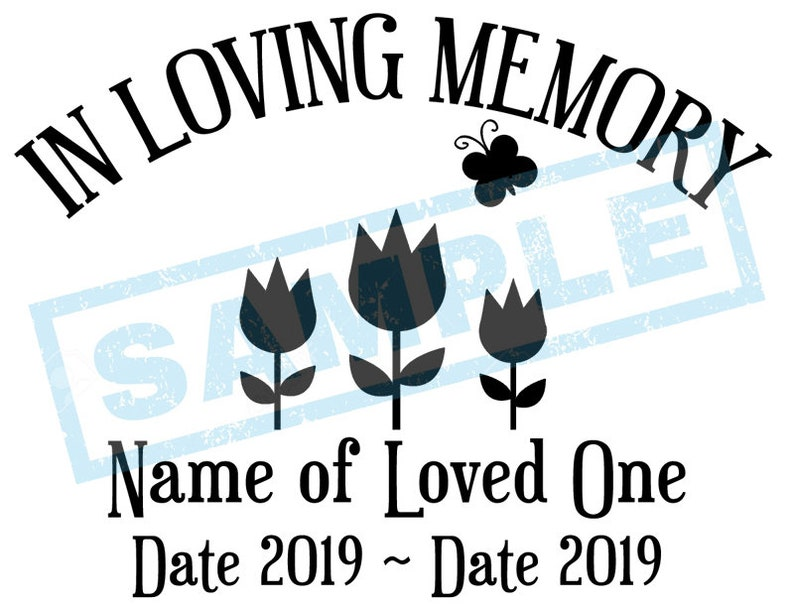 Personalized In Loving Memory Decal  Tulips Flowers Butterfly image 0