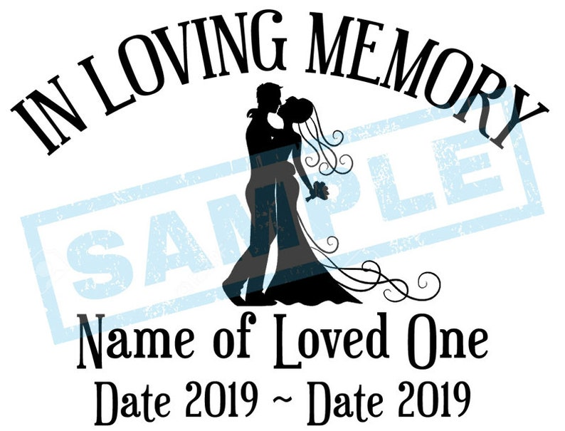 Personalized In Loving Memory Decal  Bride & Groom image 0