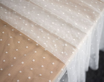 Soft Elastic Polka Dot Tulle Mesh Lace Fabric for Wedding Dress, Lingerie, Costumes